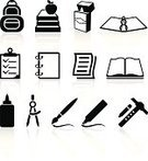 Learning,Book,Symbol,Education,School Supplies,Computer Icon,Paintbrush,Glue,Icon Set,Drawing Compass,Equipment,Crayon,Ruler,Paper,Ring Binder,Pencil,Felt Tip Pen,Satchel - Bag,Black And White,Sparse,Check Mark,Apple - Fruit,Simplicity,Palmtop,Empty