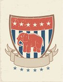 Elephant,Republican Party,Banner,Election,Political Rally,Retro Revival,Shield,Patriotism,Striped,Old-fashioned,Voting,Old,Mascot,Grunge,Star Shape,Red,Party - Social Event,Blue,Victory,Ribbon,Advertisement,Blank,Rough,Message,Cultures,Concepts And Ideas,Splattered,Animals And Pets,Illustrations And Vector Art,Power,Vector Cartoons