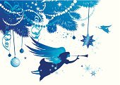 Angel,Christmas,Religion,Winter,Non-Urban Scene,Tree,Silhouette,Spirituality,Vector,Backgrounds,Symbol,Christmas Decoration,Holiday,Snowflake,Pine,Retro Revival,Hope,Cultures,White,Decoration,Old-fashioned,Ornate,Art,Ilustration,Ribbon,Illuminated,Shape,Star Shape,Old,Image,Evergreen Tree,Profile View,Innocence,Bright,Tranquil Scene,Beauty In Nature,Cold - Termperature,Celebration,Vector Backgrounds,Christmas,Holidays And Celebrations,Shiny,New Year's,Illustrations And Vector Art