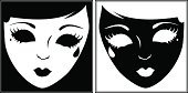 Mask,Theater Mask,Silhouette,Masquerade Mask,Costume,Theatrical Performance,Carnival,Black Color,Human Face,White,Actor,Female,Women,Vector,People,Depression - Sadness,Sadness,Art,Grief,Halloween,Disappointment,Paintings,Ilustration,Design,Black Background,Actress,Pantomime Dame,Classical Theater,Performing Arts Event,Despair,Arts Abstract,Tragedy Mask,Feelings And Emotions,Concepts And Ideas,Arts And Entertainment,Theatre