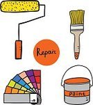 Equipment,Work Tool,Symbol,Paint,Design,Drawing - Art Product,Painting,Repairing,Palette,Paintbrush,Color Swatch,Paint Roller,Paint Can,Illustration,House Painter,Vector,2015