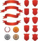 Medal,Coat Of Arms,Banner,Laurel Wreath,Red,Silver - Metal,Ribbon,Placard,Set,Gold,Party - Social Event,Bronze,Design Element,Decoration,Blank,Curled Up,Empty
