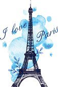 Romance,Journey,Travel Destinations,Design,Tower,France,Blue,International Landmark,Paris - France,Eiffel Tower,Backgrounds,Ornate,Watercolor Painting,Illustration,No People,Vector,Fashion,Travel,Retro Styled,Blob,Colored Background,Arts Culture and Entertainment,2015,Blue Background