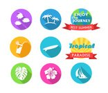 Computer Graphic,Illustration,Insignia,Label,Sea,Summer,Beach,Enjoyment,Tropical Flower,Island,Juice,Vector,Badge,Lemon,Pink Color,Sailfish,Journer,Cheese Plant,Purple,Sign,Blue,Red,Symbol,Ornate,Vacations