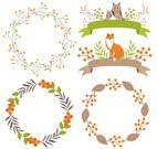 Flower,Fox,Plant,Orange Color,Animal Wildlife,Animal,Cute,Cartoon,Animals In The Wild,No People,Illustration,Nature,Leaf,Wreath,2015,Ribbon - Sewing Item,Berry Fruit,Woodland,Autumn,Circle,Botany,Forest,Season,Part Of,Branch,Owl,Formal Garden,Decor,Vector,Design,Brown,Green Color