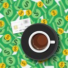 Sharing,Cup,Background,Share,Template,www,Office,No People,Illustration,2015,Table,Internet,Coin,Chaos,Currency,Making Money,High Angle View,Bank Deposit Slip,Backgrounds,Business,Credit Card,Saucer,Vector,Yellow,Percentage Sign