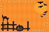 Halloween,Candy,Domestic Cat,Jack O' Lantern,Candy Corn,Fence,Bat - Animal,Vector,jack-o-lantern,Silhouette,Spider Web,Harvest Moon,Black Color,Full Moon,Copy Space,Vector Cartoons,Vector Backgrounds,Holidays And Celebrations,Illustrations And Vector Art,Halloween