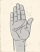 Human Hand,Palm,Retro Revival,Halftone Pattern,Old-fashioned,Waving,Cartoon,Greeting,Sign,Number,Stop Gesture,Pattern,Thumb,Human Finger,Gesturing,Grunge,Wrinkled,Communication,Vector Cartoons,People,Run-Down,Concepts And Ideas,Illustrations And Vector Art