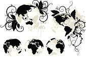 Earth,Globe - Man Made Object,World Map,Planet - Space,Vine,Vector,Africa,Map,Travel,Floral Pattern,Flower,Middle East,Asia,Black Color,Global Communications,Design,Computer Graphic,Spinning,Europe,Ornate,Symbol,Design Element,Cartography,Curve,Ilustration,The Americas,Curled Up,Travel Locations,Illustrations And Vector Art,Isolated Objects,Physical Geography