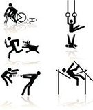 Stick Figure,Sport Symbol,Accident,Symbol,Gymnastics,Bicycle,Dog,Humor,Running,Sport,Cycling,Silhouette,Men,Pole Vault,Computer Icon,Sport Torch,Throwing the Hammer,Crocodile,Gymnastic Rings,Simplicity,Vector,Pole Vault Bar,Black And White,Competition,Sports Symbols/Metaphors,Illustrations And Vector Art,Competitive Sport,Sports And Fitness