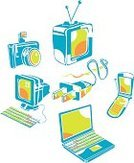 Computer,Laptop,Electric Plug,Television Set,Vector,Symbol,Camera - Photographic Equipment,Creativity,Cable,Electricity,Green Color,Power Line,Mobile Phone,Spiral Notebook,Wire,Equipment,Internet,Computer Monitor,Single Object,Computer Icon,Five Objects,Computer Keyboard,Blue,USB Cable,Orange Color,Visual Screen,Lens - Optical Instrument,Communication,Isolated,Illustrations And Vector Art,boxy,Liquid-Crystal Display,Group of Objects,Antenna - Aerial