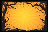 Spooky,Halloween,Forest,Tree,Woodland,Silhouette,Autumn,Branch,Orange Color,Grass,Back Lit,Exploding,Black Color,Looking At View,Halloween,Holidays And Celebrations,Outdoors,Copy Space