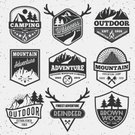 Adventure,Exploration,Deer,Sign,Outdoors,Hexagon,Summer,Campfire,No People,Illustration,Nature,Discovery,Symbol,Badge,Extreme Sports,2015,Outline,Mountain,Winter,Fire - Natural Phenomenon,Insignia,Forest,Mountain Climbing,Sun,Vector,Sun,Label