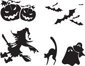 Halloween,Domestic Cat,Witch,Silhouette,Ghost,Pumpkin,Black Color,Bat - Animal,Vector,Icon Set,Flying,Broom,Horror,Autumn,Art,Shoe,Ornate,Humor,Spooky,Ilustration,Hat,Costume,Smiling,Grimacing,Painted Image,Season,Holiday,Holiday Symbols,Vector Icons,Halloween,Holidays And Celebrations,Illustrations And Vector Art