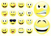 Emoticon,Smiley Face,Emotion,smilies,Smiling,Winking,Icon Set,Sunglasses,Anthropomorphic,Facial Expression,Sticking Out Tongue,Yellow,Anger,Cheerful,Vector,Collection,Cool,Vector Icons,Feelings And Emotions,Concepts And Ideas,Crying,Illustrations And Vector Art