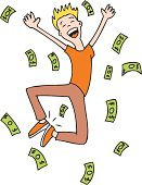 Currency,Wealth,Men,Cartoon,Child,Jumping,Cheerful,Little Boys,Winning,Paper Currency,Happiness,Success,Making,Computer Graphic,Vector,Dollar,Joy,Dollar Sign,Ilustration,Young Adult,Lifestyle,Babies And Children,Business Concepts,Male,Isolated On White,Achievement,Business,Illustrations And Vector Art,Isolated