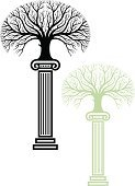Architectural Column,Tree,Oak,Pedestal,Oak Tree,Branch,Vector,Symbol,Black Color,Environment,Green Color,Religious Icon,Exhibition,Tree Trunk,Concepts,Nature,Showing,Nature,Illustrations And Vector Art,Collection,No People