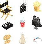 Isometric,Movie,Director's Chair,Popcorn,Symbol,Film Industry,3-D Glasses,Three-dimensional Shape,Computer Icon,Videocassette,Hollywood - California,Camera - Photographic Equipment,Icon Set,Entertainment,Film Slate,Candy,Soda,Movie Ticket,Vector,Internet,Megaphone,Film Reel,Design Element,Snack,Clip Art,Isolated Objects,Cinema,Arts And Entertainment,Illustrations And Vector Art,Vector Icons,web icon,Isolated-Background Objects