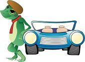Frog,Car,Headlight,Cartoon,Grille,Animal,Water,Animal Foot,Cruise,Showing,Exhibition,Turquoise,Green Color,Old-fashioned,Beauty And Health,Fashion,Performance,Street,Illustrations And Vector Art,cruisein,Transportation,Aquatic Reptile,Antique,Croaking,Webbed Foot,Tire