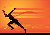 Running,Sprinting,Track Event,Starting Line,Men,Sport,Silhouette,Athlete,Mountain,Backgrounds,Vector,Muscular Build,Jumping,Field Event,Orange Color,Back Lit,Traditional Sport,Sunlight,Sports Backgrounds,Vector Backgrounds,Competition,Sports And Fitness,Illustrations And Vector Art,Bird