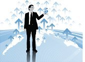 Business,Growth,Trader,Finance,Opportunity,Improvement,Financial Occupation,People,Currency,Savings,Financial Advisor,Businessman,Investment,Globe - Man Made Object,Global Business,Global Communications,Earth,Vector,Making Money,World Map,Global Finance,Dollar,Map,Business Person,One Person,Modern,Sparse,Banking,Wealth,Business Travel,Eyeglasses,International Landmark,Stock Market,Interest Rate,Contemplation,Ilustration,Arrow Symbol,Blue,Exchange Rate,US Currency,Suit,Standing,Reflection,Bringing Home The Bacon,Horn Rimmed Glasses,Bright,Business People,Thick Rimmed Spectacles,Business,Vibrant Color,Unrecognizable Person,Illustrations And Vector Art,Business Concepts