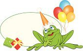 Frog,Birthday,Cartoon,Frame,Balloon,Animal,Vector,Cute,Young Animal,Green Color,Ilustration,Gift,New Year's Day,Box - Container,Cap,White Background,Animals And Pets,Illustrations And Vector Art,Birthdays,Horizontal,Holidays And Celebrations,Celebration,No People,Holiday,One Animal,White