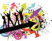 Teenager,Party - Social Event,Adolescence,Music,Dancing,Rainbow,Youth Culture,Grunge,Backgrounds,Silhouette,People,Teenage Girls,Abstract,Funky,Vector,Disco Dancing,Arrow Symbol,Teenage Boys,Women,Ilustration,Group Of People,Male,Men,Audience,Female,Splattered,Looking At Camera,People,Illustrations And Vector Art,Vector Backgrounds