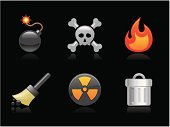 Bomb,Human Skull,Delete Key,Symbol,Skull and Crossbones,Computer Icon,Fire - Natural Phenomenon,Toxic Substance,Cleaning,Icon Set,Garbage,Vector,Sign,Pirate Flag,Radiation,Danger,Destruction,Weapon,Radioactive Warning Symbol,Burning,Interface Icons,Push Button,Broom,Garbage Can,Set,Recycling Bin,Design Element,Warning Sign,Collection,Environmental Damage,Ilustration,Single Object,useful,Illustrations And Vector Art,Close-up,Isolated,Vector Icons,Objects/Equipment,Technology Symbols/Metaphors,Technology