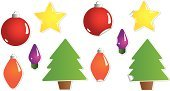 Christmas,Christmas Ornament,Tree,Isolated,Label,Light Bulb,Vector,Christmas Tree,Sphere,Curled Up,Star Shape,Peeled,Ornate,Holiday,Holidays And Celebrations,Illustrations And Vector Art,Christmas,Vector Icons,Isolated On White,Multi Colored,Sticky,Ilustration,Lighting Equipment,Decoration