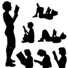 Girls,Females,Silhouette,Book,Beauty,Teenager,Collection,Beautiful People,Sitting,Illustration,Relaxation,People,2015,Reading,Back Lit,Human Hair,Resting,Adult,60161,Young Adult,Cut Out,Business,liedown,Vector,Women,Design,Teenage Girls