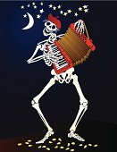 Day Of The Dead,Halloween,Human Skeleton,Accordion,Dancing,Music,Carnival,Human Skull,Latin American and Hispanic Ethnicity,Death,Dead Person,Smiling,People,Human Bone,Ilustration,Playing,Vector,Piano Key,Laughing,Vitality,Cultures,Indigenous Culture,Playful,Night,Star Shape,Celebration,Petal,Moon,Vector Cartoons,Drawing - Art Product,Painted Image,People,Facial Expression,Spirituality,Life,El Dia De Los Muertos,Illustrations And Vector Art,Holidays And Celebrations,Halloween