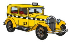 Taxi,Limousine,Car,Engine,Old,Cartoon,Cart,Taxi,Illustration,Classic,2015,Transportation,Veteran,Street,Retro Styled,Land Vehicle,Vector,Yellow,Old,Hacking