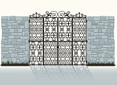 Stone Wall,Gate,Wrought Iron,Iron - Metal,Door,Wall,Surrounding Wall,Ornate,Doorway,Scroll Shape,Vector,Entrance,Metal,Shadow,Black Color,Elegance,Ilustration,Architectural Detail,Visual Art,Arts And Entertainment,Illustrations And Vector Art,Architecture And Buildings