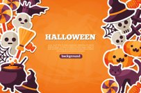 Candy,Art And Craft,Banner,Art,Domestic Cat,Sign,Orange Color,Cute,Holiday - Event,Horizontal,Celebration,Placard,Cartoon,Cheerful,Telephone,Paranormal,Illustration,Human Skull,Humor,Frame,Symbol,Animal Markings,Spooky,Poster,Textured,Banner - Sign,2015,Happiness,Flat,Spider,Backdrop,Pattern,Autumn,Night,Horror,Communication,Text Messaging,Clip Art,Decoration,Season,Backgrounds,Halloween,Bat - Animal,Dark,Flyer - Leaflet,Pumpkin,Mystery,Witch,Black Color,Fun,Vector,Design,Undomesticated Cat,Group Of Objects,Party - Social Event,Label