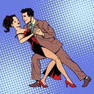 Love,Husband,Wife,Lambada,Rumba,Women,Waltzing,Men,Elegance,Spotted,Pop Art,Comic Book,Human Face,Illustration,Halftone Pattern,Vector,Emotion