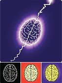 Human Brain,Lightning,Storm,Brainstorming,Contemplation,Ideas,Purple,Red,Vector,Inspiration,Ilustration,Black Color,White,Concepts And Ideas,Thinking