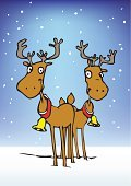 Reindeer,Christmas,Couple,Snow,Smiling,Christmas,Holidays And Celebrations,Animals And Pets,Cheerful