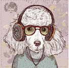 Computer Graphics,Background,Poodle,Animal,Cute,Puppy,Headphones,Creativity,Toy,Illustration,Grooming,Listening,Purebred Dog,Human Body Part,2015,Computer Graphic,Groom,Pets,Playing,Backgrounds,Vector,Human Face,Brown,Label