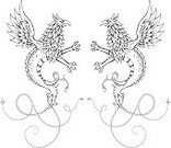 Dragon,Griffin,Mythology,Coat Of Arms,Wing,Ornate,Tail,Feather,Monster,Ink,Drawing - Art Product,Animal Scale,Beak,Claw,Drawing - Activity,Ilustration,Illustrations And Vector Art,No People,Animals And Pets