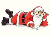 Santa Claus,Lying Down,Christmas,Humor,Cartoon,Tired,Vector,Resting,Ilustration,New,Year,Men,Grandfather,Characters,Senior Adult,Winter,Holiday,Happiness,Drawing - Activity,Greeting,Smiling,Beard,Christmas,New Year's,Holidays And Celebrations,One Person,White,Red,Illustrations And Vector Art