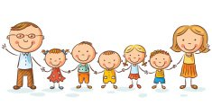 Child,Girls,Characters,Sketch,Boys,Cute,Cartoon,Cheerful,Child's Drawing,Togetherness,Mother,Illustration,People,2015,Family,Happiness,Childhood,In A Row,Parent,Holding Hands,Adult,Domestic Life,Large,Adoption,Large,Father,Standing,Vector,Drawing - Art Product,Large Group Of People