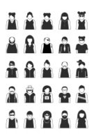 Avatar,People,Human Face,Icon Set,Social Issues,Vector,Black And White,Profile Picture