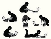 Silhouette,Laptop,Child,People,Reading,Sitting,Little Boys,Internet,Vector,Headphones,Crouching,Watching,Outline,The Human Body,Sketch,Cross-legged,Listening,Computer Monitor,Digitally Generated Image,Typing,Cut Out,Searching,Wireless Technology,Computer Graphic,Ilustration,Sitting On Floor,Isolated,Series,Black Color,Isolated On White,Variation,Liquid-Crystal Display,Shape,Focus on Shadow,Tracing