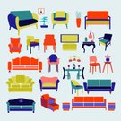 Electric Lamp,Furniture,Chandelier,No People,Illustration,Indoors,Icon Set,Computer Icon,Symbol,Table,Furniture Set,Clip Art,Decoration,Sofa,Domestic Life,interior set,Vintage style,Lifestyles,Armchair,Vector,Group Of Objects