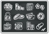 Chalk - Art Equipment,Chalk Drawing,Chalk,Blackboard,Symbol,Computer Icon,Icon Set,Currency,Built Structure,Scribble,Finance,Safe,Business,Credit Card,Arrow Symbol,Coin,Calculator,Graph,Padlock,Ilustration,Vaulted Door,Pie Chart,Vector,Building Exterior,Briefcase,Paper Clip,CD,Chalk Dust,Smudged,Vector Icons,Business,CD-ROM,Illustrations And Vector Art