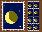 Postage Stamp,Moon,Postmark,Mail,Label,Star - Space,Envelope,Delivering,Objects/Equipment,Communication,Illustrations And Vector Art,Letter,Star Shape,Concepts And Ideas