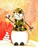 Snowman,Christmas,Armed Forces,Snowball,Camouflage Clothing,Watercolor Painting,Snowing,Winter,Throwing,Ilustration,Male Likeness,Looking At Camera,Full Length,Smiling,Frozen,Vertical,Day,Christmas,Winter,Holidays And Celebrations,Nature,Cheerful