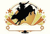 Rodeo,Bull - Animal,Cowboy,Wild West,Bull Riding,Horse,Riding,Bucking,Vector,Cowboy Hat,Silhouette,Computer Graphic,Design,Design Element,Event,Star Shape,Victorian Style,Scroll Shape,Digitally Generated Image,Clip Art,Outline,Sports And Fitness,Illustrations And Vector Art,Animals And Pets,Copy Space,Farm Animals