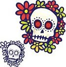 Tattoo,Human Skull,Flower,Vector,Drawing - Art Product,Vector Florals,Illustrations And Vector Art,Vector Ornaments,Ilustration,Design Element,hand drawn