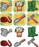 Gardening Equipment,Gardening,Watering Can,Ornamental Garden,Work Tool,Garden Hose,Shovel,Icon Set,Potted Plant,Flower,Objects/Equipment,Vector Icons,Nature,Illustrations And Vector Art,Environmental Conservation,Nature